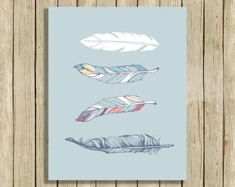 Tribal nursery art printable boho feather digital art instant download blue grey baby boy girl art print