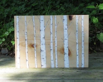 Birch Tree Painting Wood Block