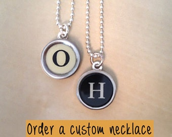 Custom typewriter key jewelry necklace! Personalized Jewelry.  NO GLUE.  Charm necklace.