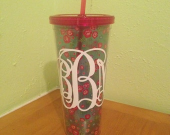 22oz Floral Tumbler with Reusable Straw