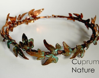 Copper ivy wreath, headpiece, real planning eleven crown / wreath tiara from real Ivy, copper-plated
