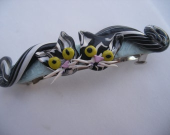 Trendy hair clip, stripy black and white cats, quirky cat items, hand sculpted,  cat lovers , animal hair clips, fun hair decor