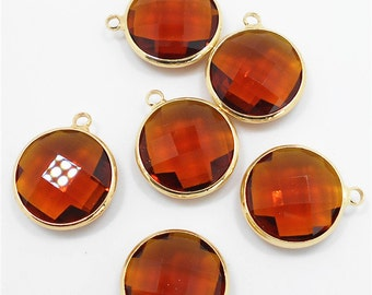 2 pc Smoky Round Glass Bezel Gemstone Pendant - Polished Gold Plated over Brass - 18mm