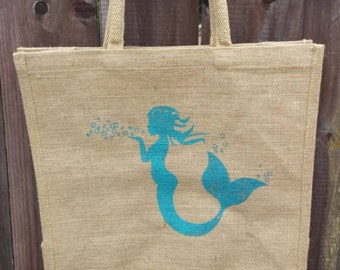 Mermaid jute tote bag