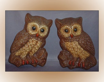 Vintage Homco Owl Foam Plaques Wall Décor Home Interior