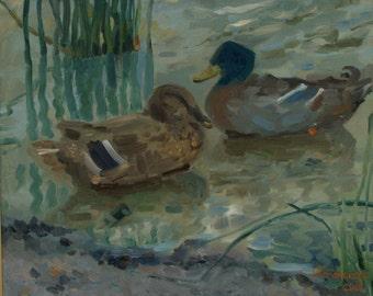 Lazy morning. Ducks at Elizabeth Lake (framed oil painting)
