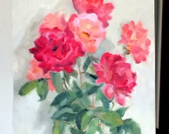Pink roses (Original oil painting, impressionist still life with roses)
