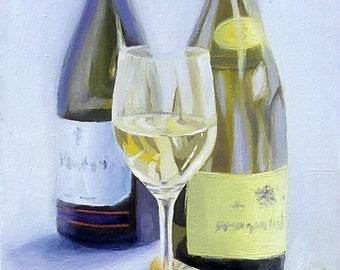 Wine testing - still life painting - original painting