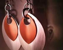 Etched Silver and Copper Scale Maille Chainmaille Dangle Earrings