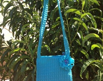 Adorable vibrant crocheted blue cross body or shoulder purse