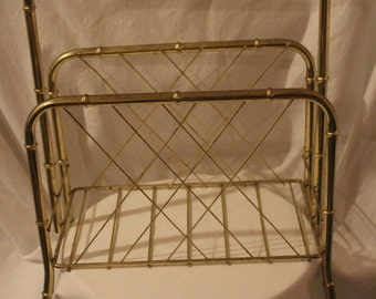 Vintage Gold Tone Metal Magazine Rack or LP (record) Rack, Mid 70's, Arr NN