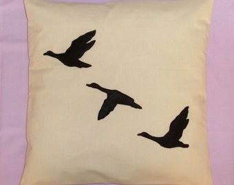 Geese - Cream Unique Cushion Pillow Cover with a Black Felt Design