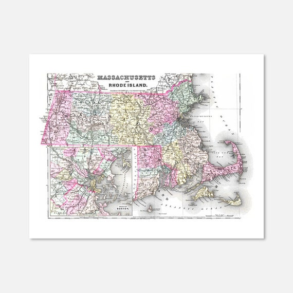 Massachusetts and Rhode Island Vintage Map Print
