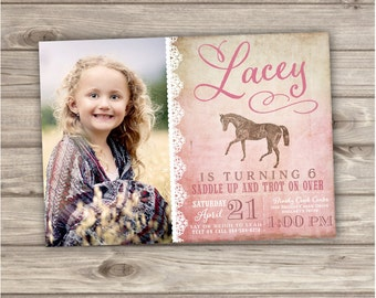 Printable Photo Rustic Lace Horse Birthday Invitations Shabby Chic Country Cowgirl Theme Party girl Rustic Modern Download pdf jpeg NV4002