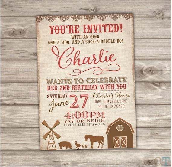 Farm Birthday Printable Invitations Rustic On The Farm Animals