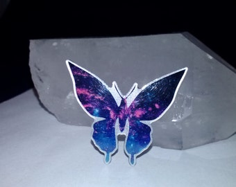 galaxy universe space butterfly hat pin