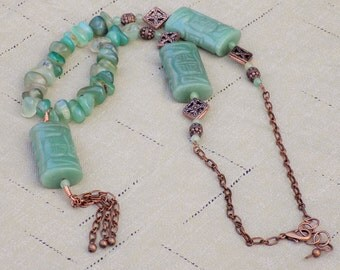 Jade and Copper Statment Necklace