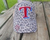 "MLB Women's TEXAS RANGERS Baseball Cap Rhinestone Bling Hat Embellished Logo ""T"" Leopard Mesh Truckers Cap"