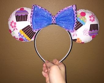 Cupcakes & Flower ears headband
