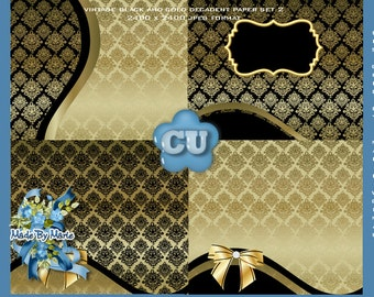 Gold Background Papers, Digital Scrapbooking.  Gold and Black Damask Satin Scrap Kit Papers, CU, CU4CU