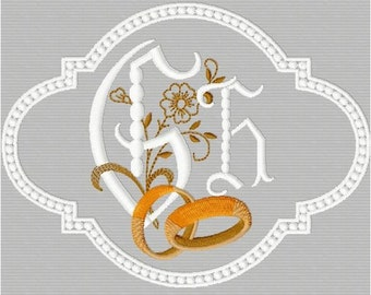 White alphabet and Gold + 4 motifs on the theme of marriage for machine embroidery