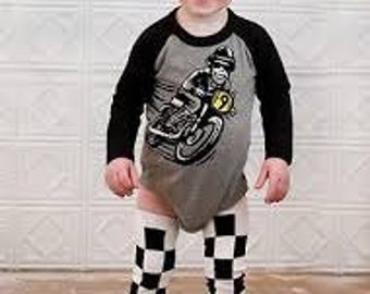 Racer Racing Checkers Leg Warmers Baby Crawlers Toddler Leggings  - READY TO SHIP