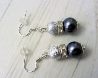 silver gray drop earrings, bead earings