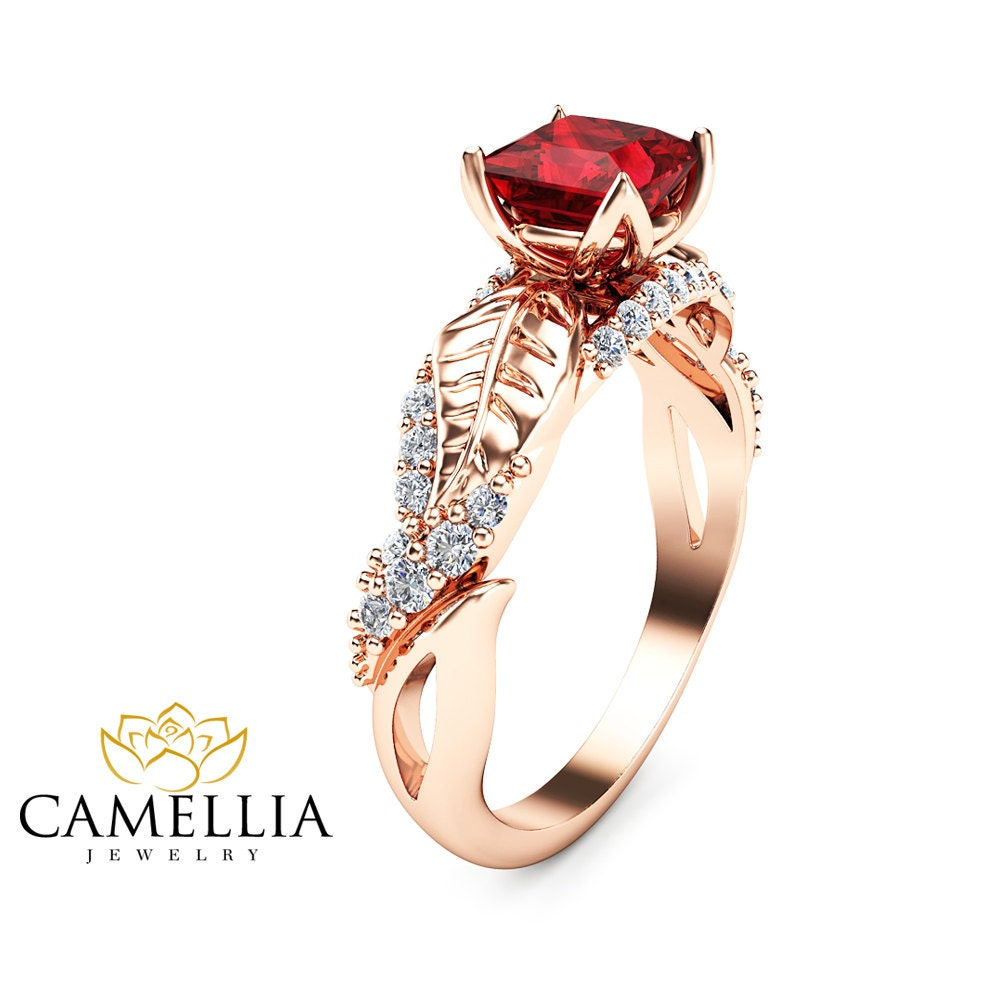 ruby engagement ring princess cut promise ring rose gold. Black Bedroom Furniture Sets. Home Design Ideas