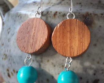 Turquoise and wooden bead earrings
