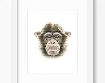 Chimp Print, Monkey Print, Monkey Wall Art, Geometric Monkey Print, Wall Print, Polygonal Monkey Print, Geometric Monkey, Monkey Wall Print