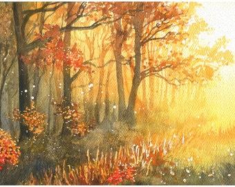 Golden autumn - ORIGINAL WATERCOLOR PAINTING landscape