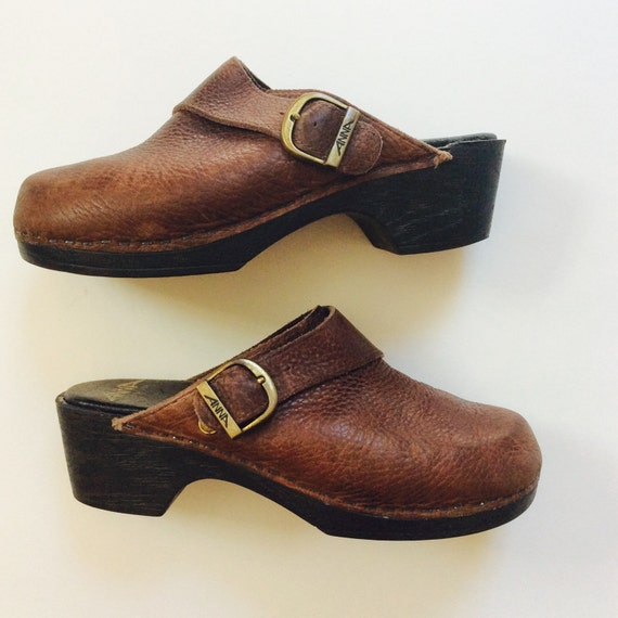 Vintage Brown Leather Clogs Leather 70s Clogs Size 37 Clogs