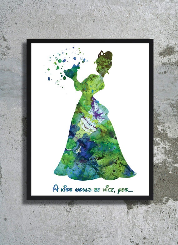 The Princess and the Frog Quote Disney Watercolor Print
