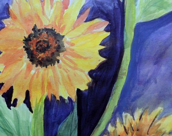 "Original Watercolor Art painting ""3 Sunflowers"" 11X14"