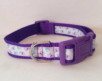 Adjustable Dog Collar - Purple with Butterflies