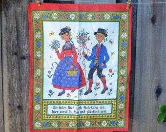 Vintage Austrian Tea Towel, Salzburg Souvenir, Folk Art
