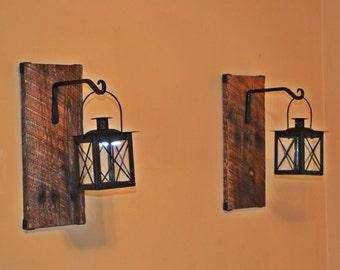 Reclaimed Wood Candle Lantern Pair, Wood Lantern, Lantern Sconce, Wrought Iron Sconce, Hanging Lantern, Rustic Lantern, Tea Light Sconce
