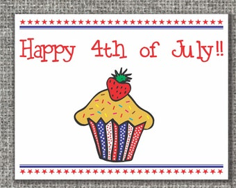 Set of 10 4th of July note cards with envelopes, 4th of July Stationery, Independence day cards, Stationery set