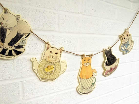 The Kit-Teas Cat Hanging, Jute String, Garland Bunting, Paper Garland, Cat Garland, Cat Decor, Paper Decoration, Party Decor, Cat, Cat Lover