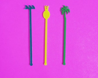 Palm Tree, Drink Stirrer, Perfect Weddings, Wedding Shower, Tropical, Swizzle Sticks, Party, Summer, Acrylic, Laser Cut, Bar Decor, 6 Pack