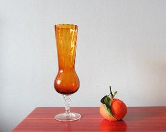 Vintage amber glass vase, hand-blown footed bud vase, retro home, vintage gift for everybody, housewarming gift.