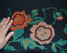 Retro Hand Stitched embroidery, vintage hand embroidery, Ukrainian cross stitch embroidered wool piece, Hand Stitched