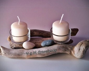 Candle holder for two candles ref. 002 driftwood candle holder