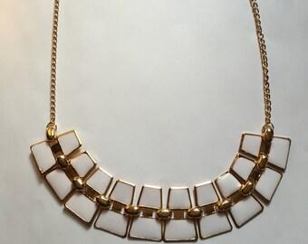 Cream Color Alloy Choker Bib Necklace