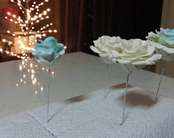 Small wedding cake flowers, rose cake toppers
