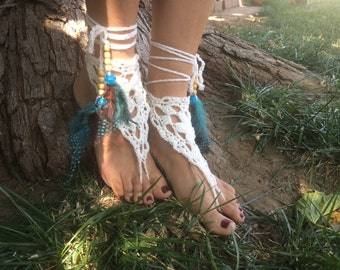 Barefoot Sandals, White Crochet. Barefoot sandals, Native American sandals,Beach, Spring Wedding, Steampunk, Victorian Lace, Foot Jewelry
