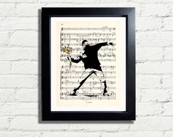 Banksy Art Throwing Flowers Picture Graffiti Wall Art Print INSTANT DIGITAL DOWNLOAD A4 Printable Poster Wall Hanging Home Decor Gift Idea