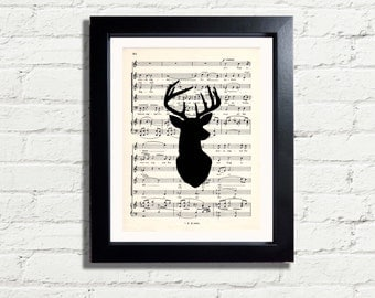 Stags Head Silhouette Picture Art Print INSTANT DIGITAL DOWNLOAD A4 Printable Image Pdf Artwork Wall Hanging Home Decor Music Room Gift Idea