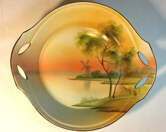 Nippon Hand Painted Two Handled Bowl Windmill on Lake Circa 1910