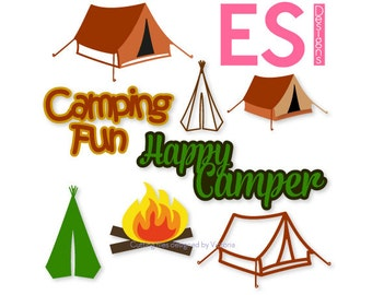 Camping SVG, DXF, EPS, design files Bundle 1, for use with Silhouette Studio and Cricut Design Space.